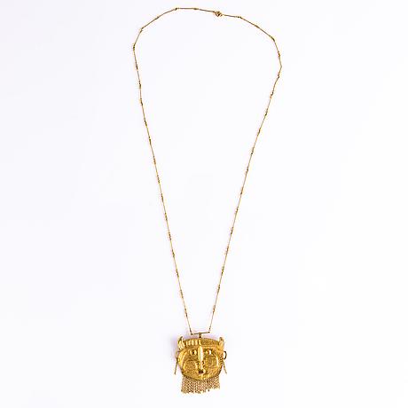 """Tapio wirkkala, pendant, """"devil's head"""", 14k gold, n. westerback, helsinki 1968."""