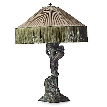 """231. Alice Nordin, an Art Nouveau patinated bronze table lamp """"Night and Morning"""", Herman Bergman's foundry, signed."""