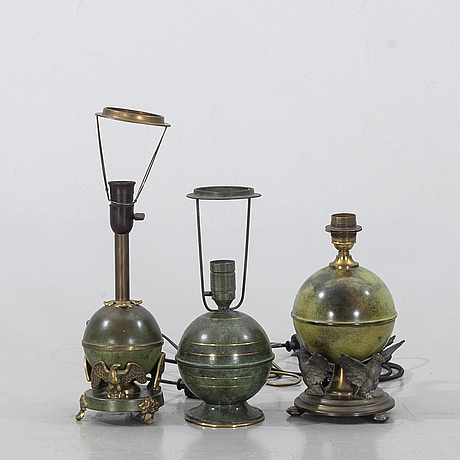 Three similar table lamps from the first half of the 20th century.