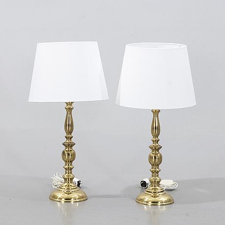 A pair of table lamps, aneta, växjö, second half of the 20th century.