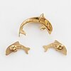 14k gold earrings and pedant, dolphin.