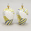 A pair of italian ceramic table lamps.