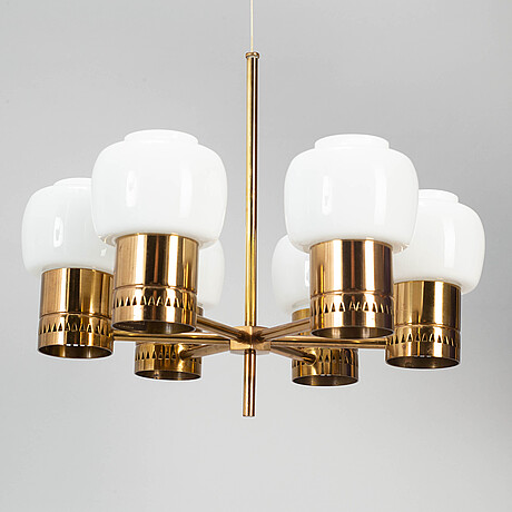 Hans-agne jakobsson, a brass and glass chandelier, markaryd.