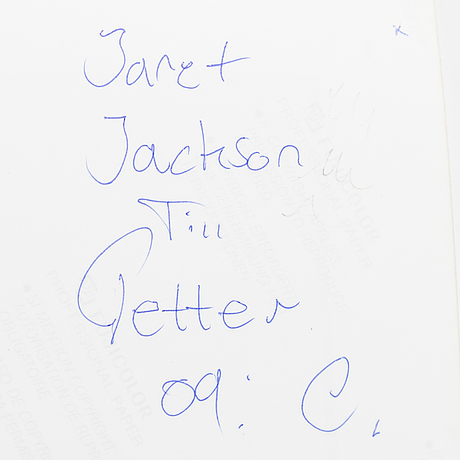 TorbjÖrn calvero, photograph of janet jackson signed calvero on verso.