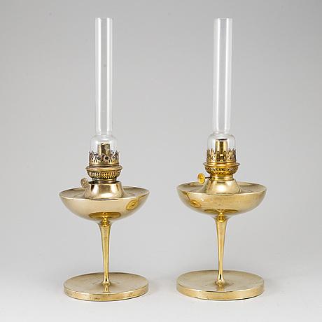 Two early 1902 table kerosene lamps by böhlmarks.