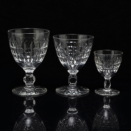 A set of 24 glasses, with sanded decor.