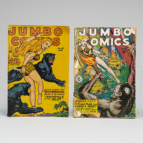 9 american magazines including jungle comics & popeye, 1948-1949.