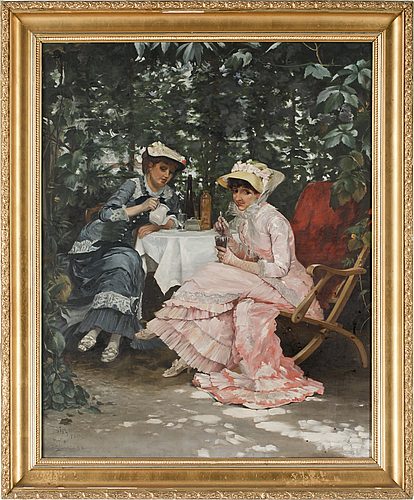 A oil painting by ernst dahl copied from a painting by hugo birger. signed and dated 1918.