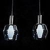 A pair of 1960s century pendant lamps in glass by tapio wirkkala. iittala/idman. height 32 cm.
