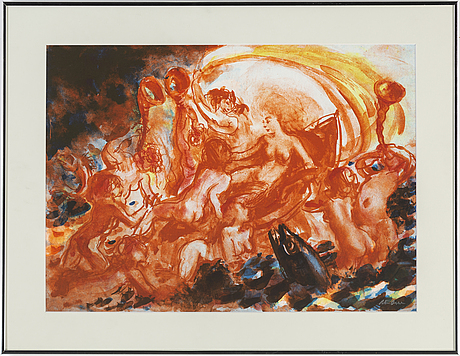 Peter dahl, lithograph in colours, signed peter dahl.