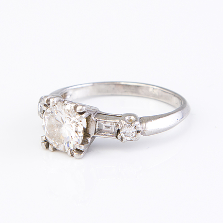 A palladium ring with brilliant and baguette cut diamonds ca. 1.62 ct in total.