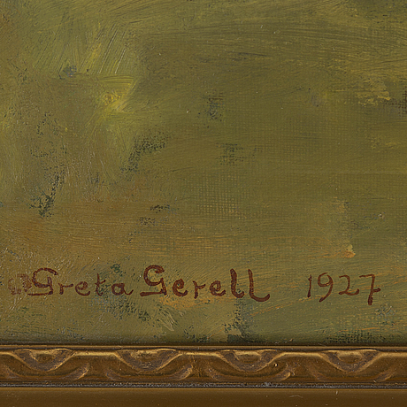 Greta gerell, oil on panel, signed and dated -27.