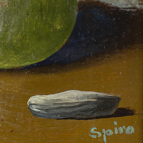 Georges spiro, oil on panel, signed.