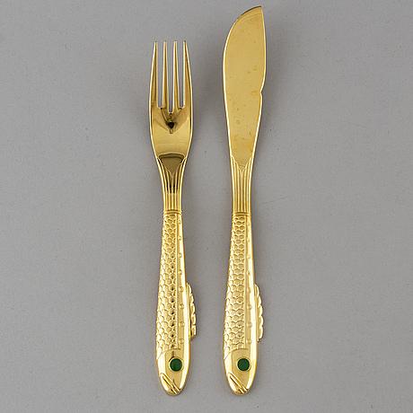 Gunnar cyrÉn, 16 psc fish cutlery, 'nobel', gense.