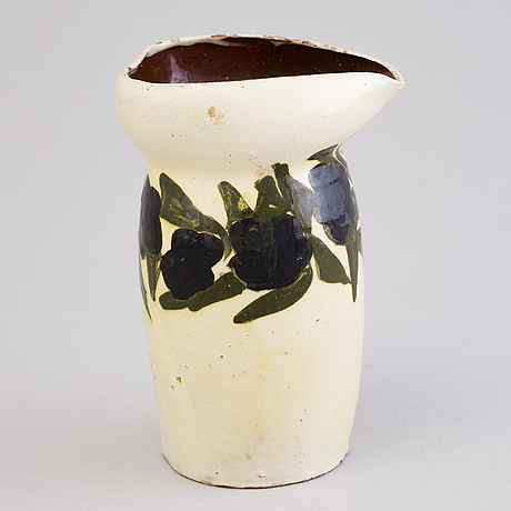 Gerda thesleff, a ceramic pitcher, signed gt finland 1903.