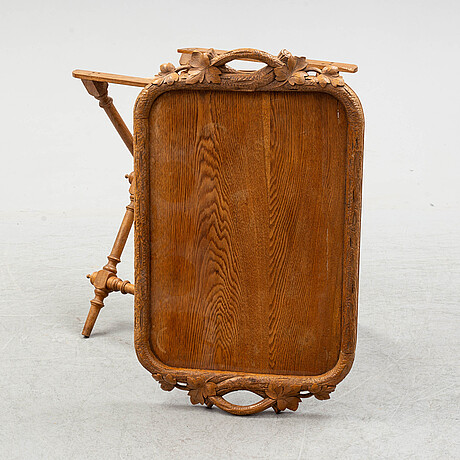 A ca 1900 oak tray and stand.