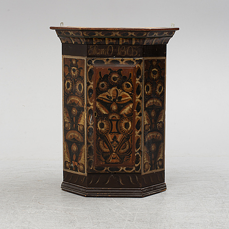 A swedish painted wall cupboard, dated 1803.