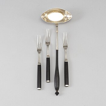 A Swedish 18th century siver sauce ladle and three forks, unidentified makers mark, Stockholm 1778.