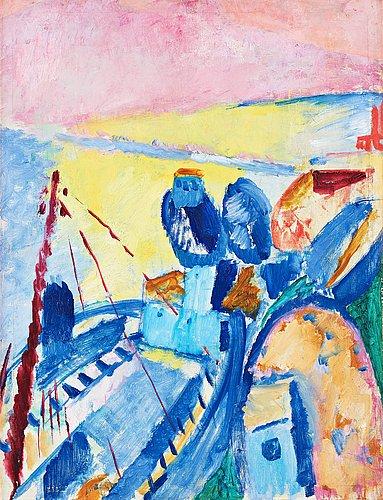 """Sigrid hjertén, """"blue barges"""" (blå pråmar)."""