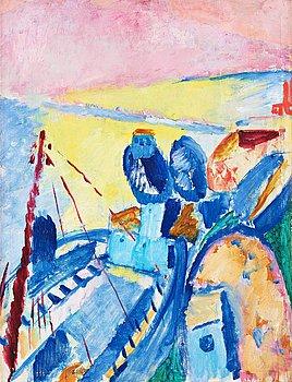 """439. Sigrid Hjertén, """"Blue barges"""" (Blå pråmar)."""