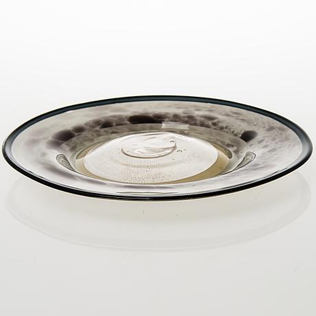 Kaj franck, 'ring plate' in glass, signed kaj franck nuutajärvi notsjö.