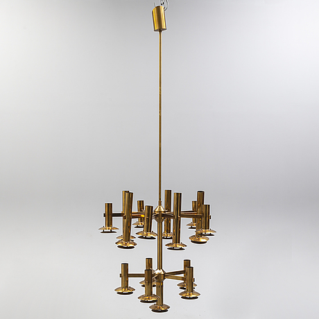 A brass ceiling light by holger johansson, westal.