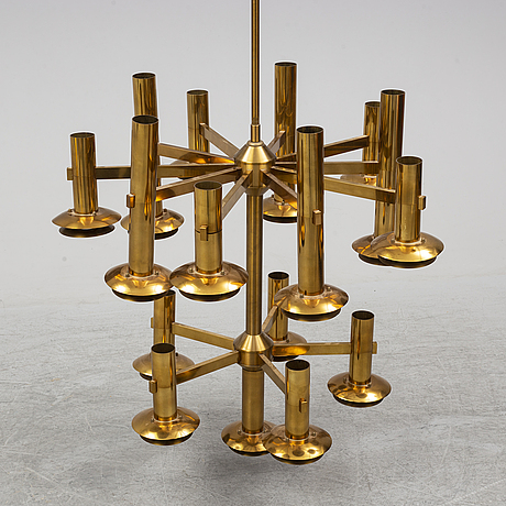 A brass ceiling light by holger johansson, westal.
