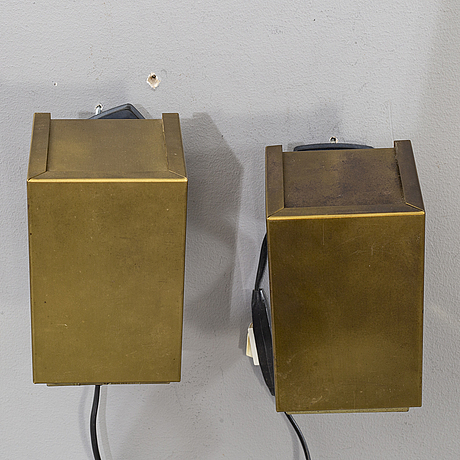"""A pair of wall lamps """"elidus kuben"""", by hans agne jakobsson, second half of the 20th century."""