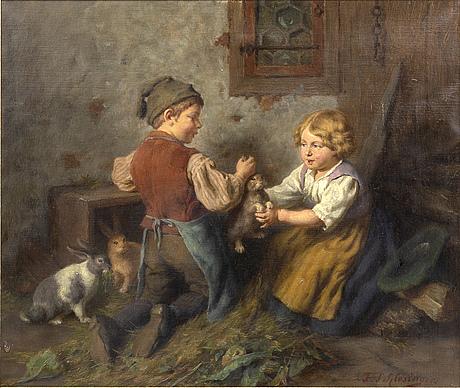 Felix schlesinger, oil on canvas, signed.