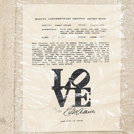 "Robert indiana, a carpet, ""white on black"", chosen love, hand tufted in 1995, ca 302 x 305 cm, robert indiana."