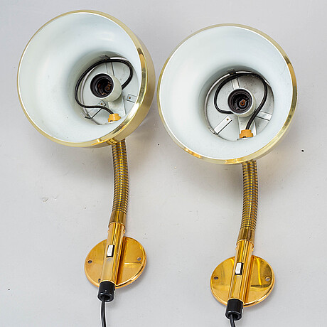 Anders pehrson, a pair of 'bumling' wall brass lamps, for ateljé lyktan Åhus.