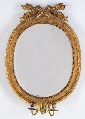A gustavian two-light girandole mirror, stockholm, late 18th century.