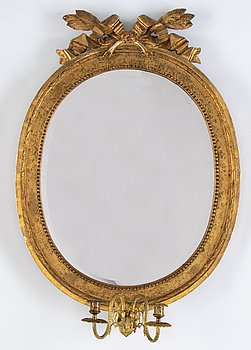 A Gustavian two-light girandole mirror, Stockholm, late 18th century.