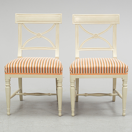 Six second half of the 20th century gustavian style chairs.
