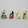 Signe hammarsten-jansson, eight ceramic moomin figurines from arabia, finland, 1950's.