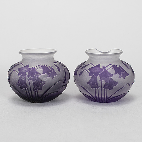 Karl lindeberg, a pair of art nouveau cameo glass vases from kosta, early 20th century.