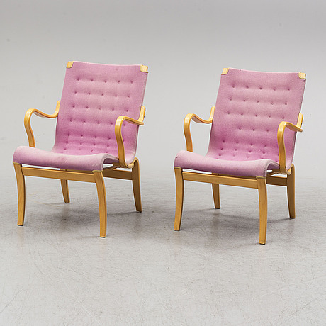 Bruno mathsson, a pair of 'mina' beech esychairs from mathsson international.