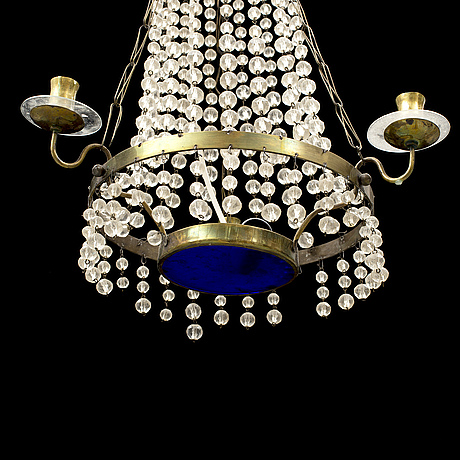 A late gustavian-style three light chandlier, 20th century.