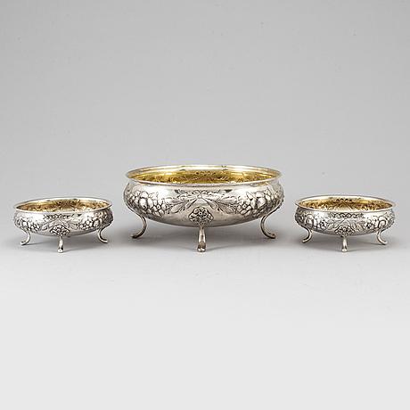 Skålar, 3 st, silver, 1900-tal.