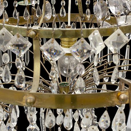 A late gustavian seven-light chandelier, circa 1800, later cut-glass.