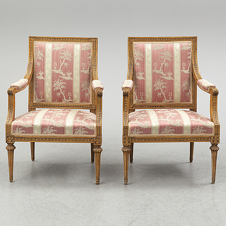 A pair of gustavian armchairs by johan lindgren, (master in stockholm 1770-1800).