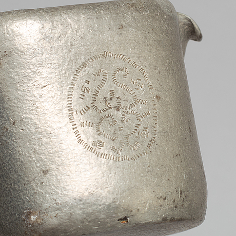 Tage fougstedt, a 3 part pewter coffee service, signed and dated 1922.