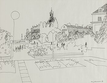 STIG CLAESSON, an ink drawing, signed and dated 81.