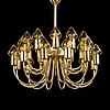 Hans-agne jakobsson, a brass chandelier, model t 808, markaryd, sweden, late 20th century.