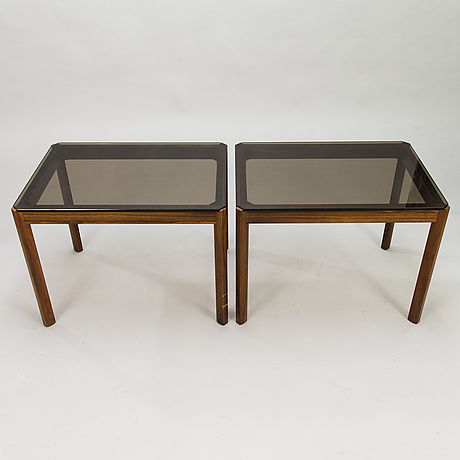 A pair of side tables in roosewood and smoke colored glass 1970:s.