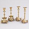 Ljusstakar, 4 st, mässing, två stämplade pimenov, ryssland c. 1900.