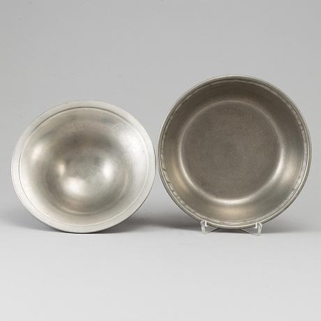 A pewter bowl with lid, svenskt tenn, stockholm 1929.