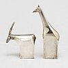 Gunnar cyrÉn, skulpturer 2 st, silverpläterad zink, dansk designs, japan.