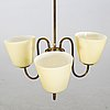 A brass and glass lamp pendant, swedish modern, 1940's.