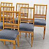A set of six swedish early 19th century chairs.